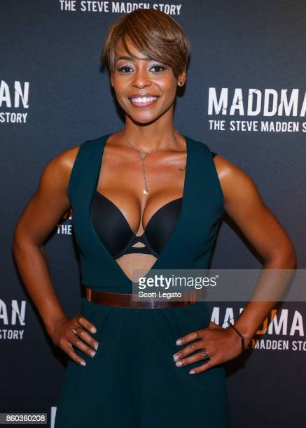 Actress Erica Peeples poses on red carpet during movie premiere at the Michigan Theater on October 11 2017 in Ann Arbor Michigan