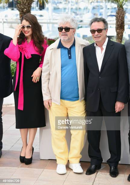 Actress Erica Rivas producer Pedro Almodovar and actor Oscar Martinez attend the Wild Tales photocall at the 67th Annual Cannes Film Festival on May...