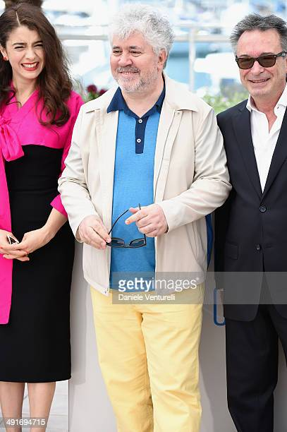 Actress Erica Rivas producer Pedro Almodovar and actor Oscar Martinez attend the 'Wild Tales' photocall at the 67th Annual Cannes Film Festival on...