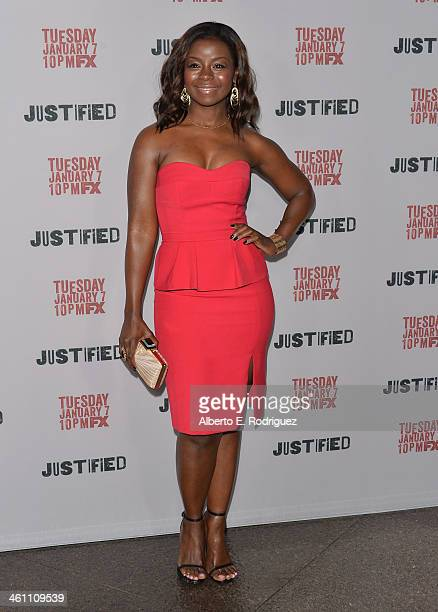 """Actress Erica Tazel arrives to the Season 5 premiere of FX's """"Justified"""" at DGA Theater on January 6, 2014 in Los Angeles, California."""
