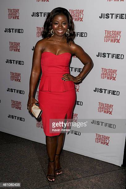Actress Erica Tazel attends the season 5 premiere screening of FX's 'Justified' at the DGA Theater on January 6 2014 in Los Angeles California