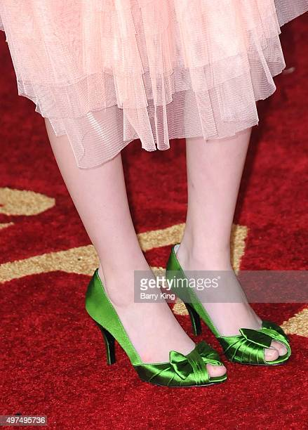 Actress Erika Bierman shoe detail attends Premiere Of Lionsgate's 'The Hunger Games Mockingjay Part 2' at Microsoft Theater on November 16 2015 in...