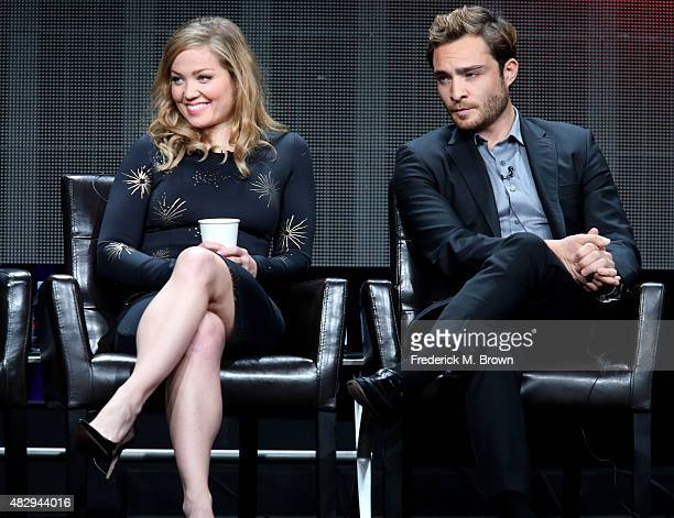 Actress Erika Christensen and actor Ed Westwick speak onstage during the 'Wicked City' panel discussion at the ABC Entertainment portion of the 2015...