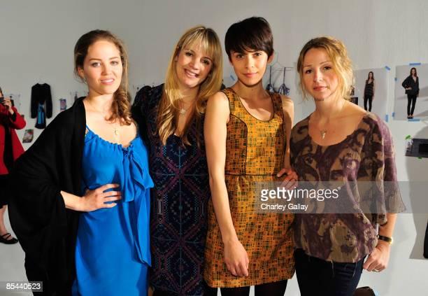 Actress Erika Christensen designer Sophia Coloma model Ceren Alkac and designer Marissa Ribisi attend the Fall 2009 presentation of Whitley Kros at...