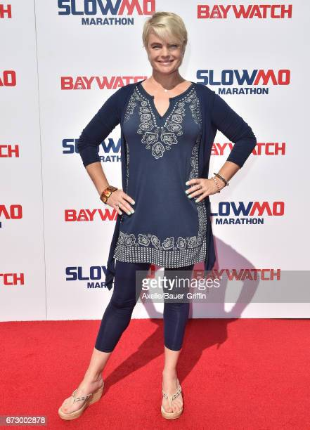 Actress Erika Eleniak arrives at the 'Baywatch' SlowMo Marathon at Microsoft Square on April 22 2017 in Los Angeles California