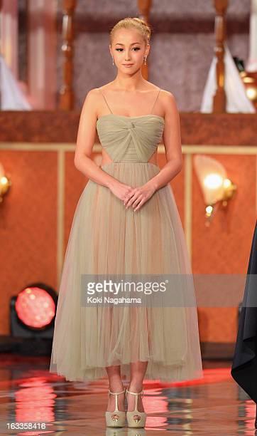 Actress Erika Sawajiri attends the 36th Japan Academy Prize Award Ceremony at Grand Prince Hotel Shin Takanawa on March 8 2013 in Tokyo Japan