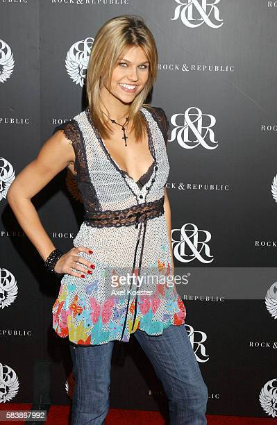 Actress Erika Schaefer arrives for the Rock Republic Spring Collection party during Los Angeles Fashion Week at the club Area in West Hollywood...