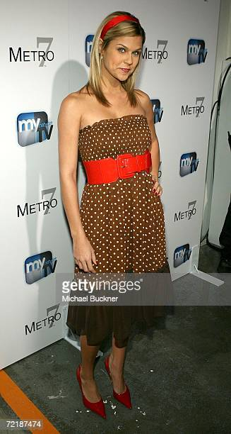 Actress Erika Schaefer in the front row at the Metro 7 Spring 2007 fashion show during Mercedes Benz Fashion Week held at Smashbox Studios on October...