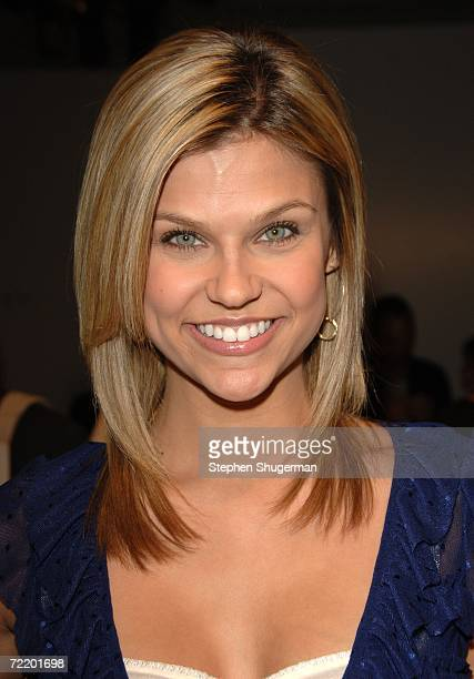 Actress Erika Schaefer poses in the front row at the Dina BarEl Spring 2007 fashion show during Mercedes Benz Fashion Week at Smashbox Studios in the...