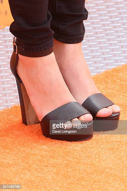 Actress Erika Tham shoe detail arrives at the Nickelodeon Kids' Choice Sports Awards 2016 at the UCLA's Pauley Pavilion on July 14 2016 in Westwood...
