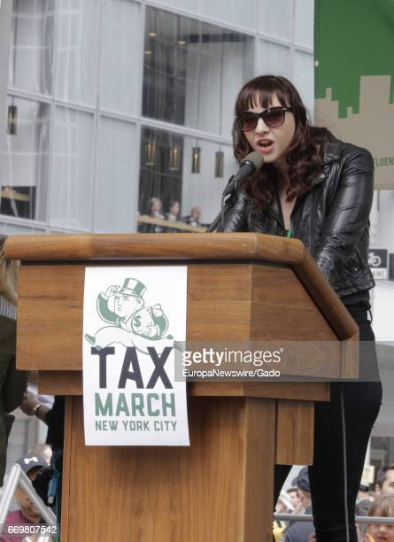 Actress Erin Darke joined thousands of New Yorkers and visiting demonstrators for a march demanding that President Donald Trump release his tax...