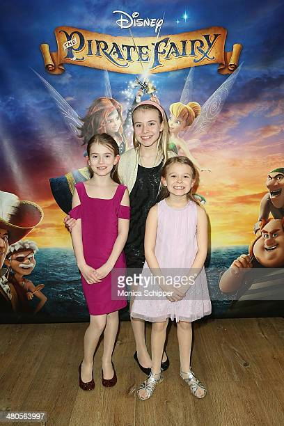 Actress Erin Gerasimovich and sisters Ashley Gerasimovich and Alexa Gerasimovich attend 'The Pirate Fairy' screening at Crosby Hotel on March 25 2014...