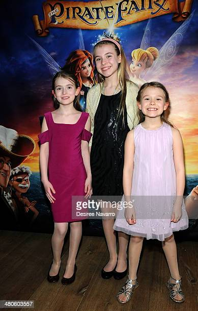 Actress Erin Gerasimovich with sisters Ashley Gerasimovich and Alexa Gerasimovich attend the 'The Pirate Fairy' New York Screening at Crosby Hotel on...