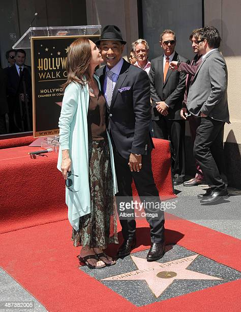 Actress Erin Gray and actor Giancarlo Esposito attend the Giancarlo Esposito Star Ceremoney On The Hollywood Walk Of Fame on April 29 2014 in...