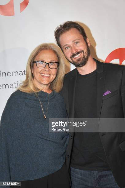 Actress Erin Gray and Kevan Schwartz attend the Launch Of Cinematic Pictures Publishing's Men Of Science Fiction at Cinematic Pictures Gallery on...