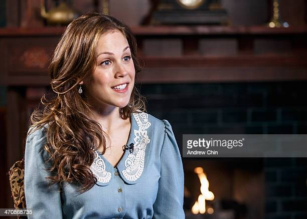 Actress Erin Krakow on the set of When Calls the Heart TV series on February 20 2014 in Vancouver Canada