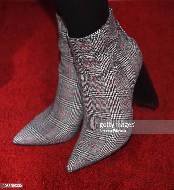 Actress Erin Krakow shoe detail arrives at the Hallmark Channel Once Upon A Christmas Miracle screening and holiday party at 189 by Dominique Ansel...
