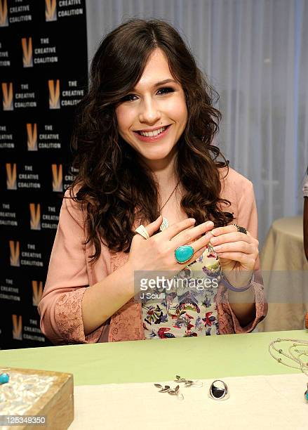 Actress Erin Sanders poses with Silpada during Kari Feinstein Primetime Emmy Awards Style Lounge at the Mondrian Los Angeles on September 16 2011 in...