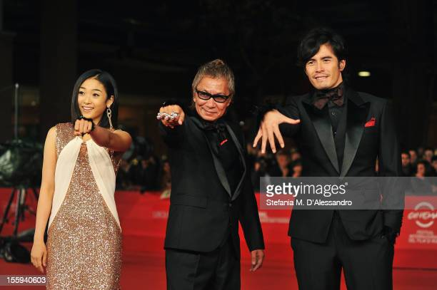 Actress Erina Mizuno director Takashi Miike and actor Hideaki Ito attend the Aku No Kyoten Premiere during the 7th Rome Film Festival at the...