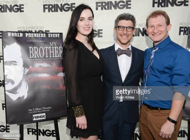 Actress Eryn Guyton director and playwright Brendan Russo and actor Adam Wylie attend 'My Brother' play premiere at Lillian Theater on June 8 2014 in...