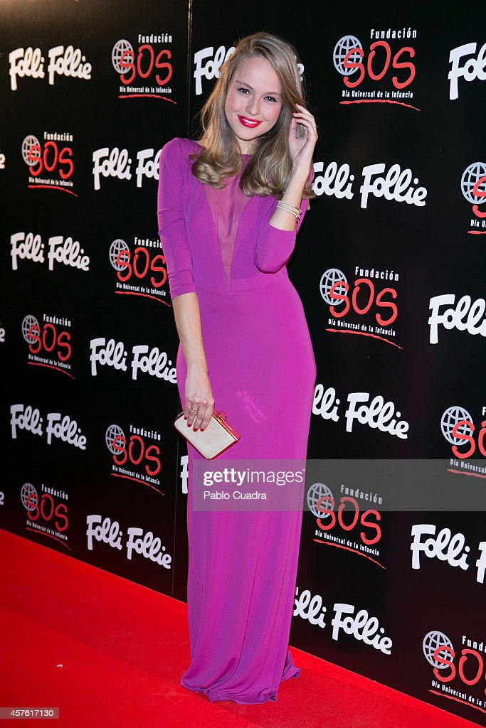 Actress Esmeralda Moya attends 'Folli Follie' new charity collection presentation on October 21, 2014 in Madrid, Spain.