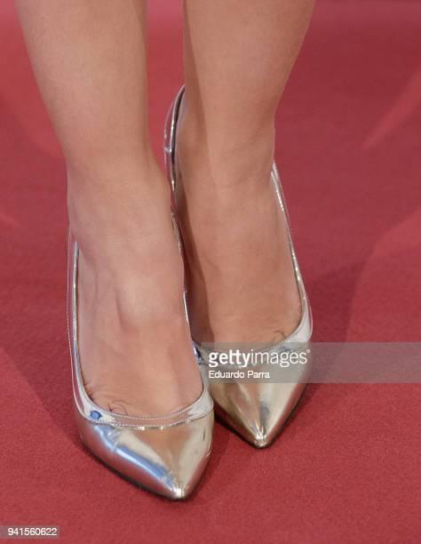 Actress Esmeralda Moya shoe detail attends the 'Campeones' premiere at Kinepolis cinema on April 3 2018 in Madrid Spain