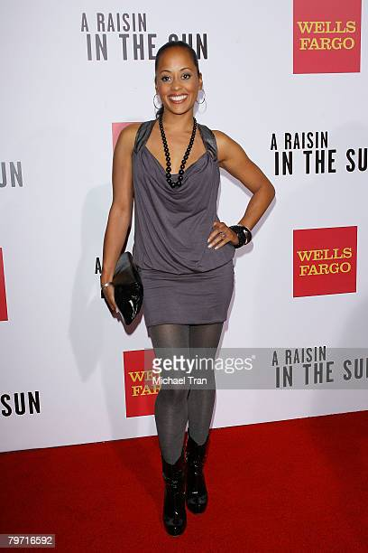 Actress Essence Atkins arrives at the Los Angeles premiere of 'A Raisin in the Sun' held at AMC Magic Johnson Theaters on February 11 2008 in Los...