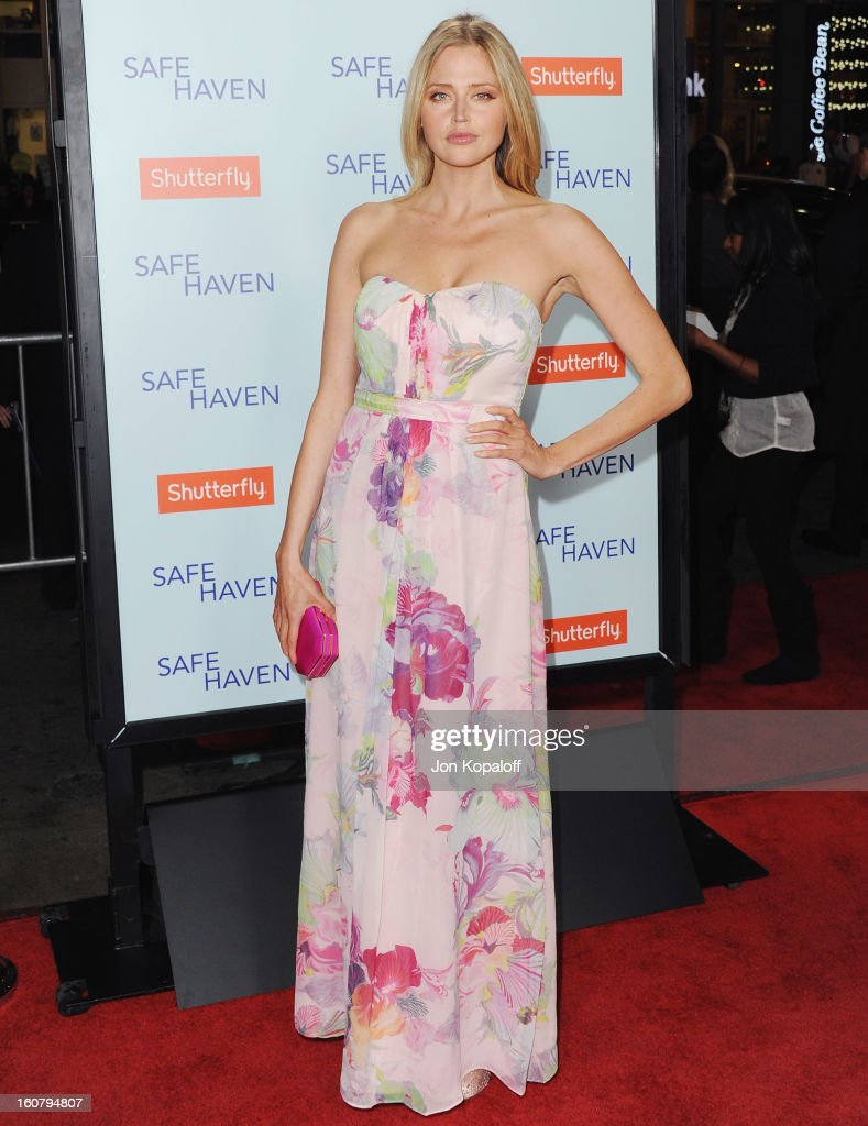 Actress Estella Warren arrives at the Los Angeles Premiere 'Safe Haven' at TCL Chinese Theatre on February 5, 2013 in Hollywood, California.