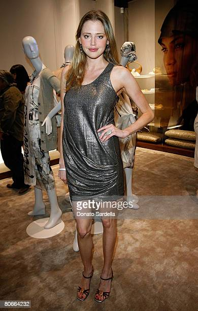 Actress Estella Warren poses during the Ports 1961 Los Angeles store opening hosted by W Magazine on April 9 2008 in West Hollywood California