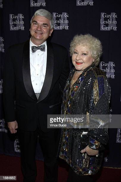 Actress Estelle Harris poses with honoree Timothy J McCallion of Verizon at the Los Angeles Gay and Lesbian Center's 31st Anniversary Gala on...