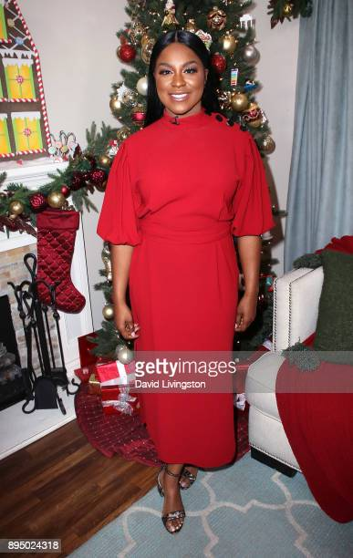 Actress Ester Dean visits Hallmark's Home Family at Universal Studios Hollywood on December 18 2017 in Universal City California