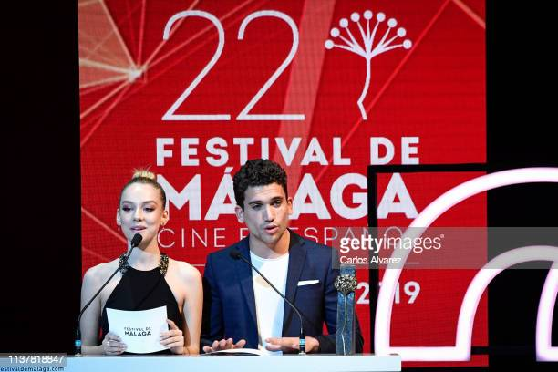 Actress Ester Exposito and actor Jaime Llorente attend the Malaga Film Festival 2019 closing day gala at Cervantes Theater on March 23 2019 in Malaga...