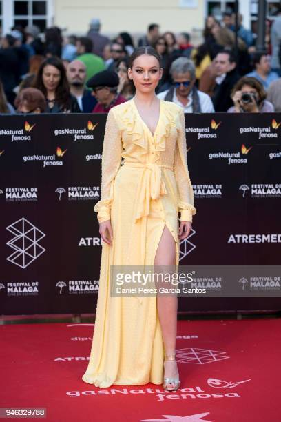 Actress Ester Exposito attends the 'The Queen of Fear' premiere during the 21th Malaga Film Festival 2018 at the Cervantes Theater on April 14 2018...