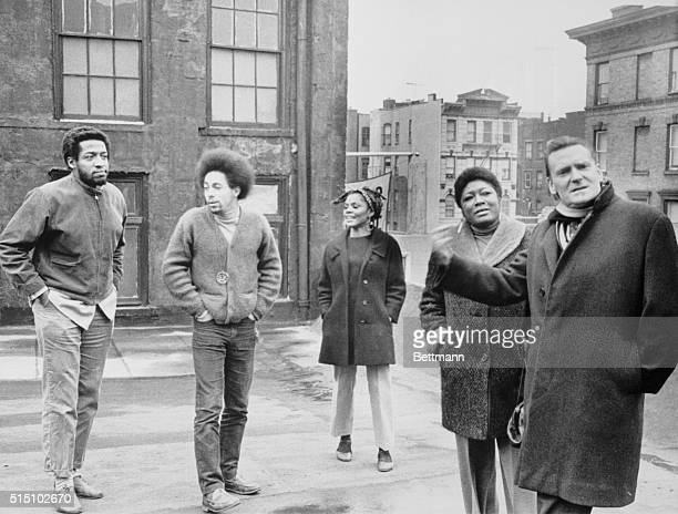 Actress Esther Rolle second from right with fellow members of the Negro Ensemble Company and Peter Daubney right the director of England's World...