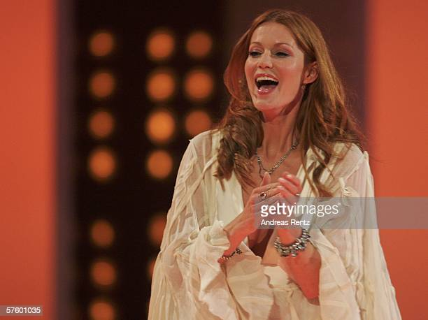 Actress Esther Schweins gestures during the ceremony at the German Film Awards at the Palais am Funkturm May 12 2006 in Berlin Germany