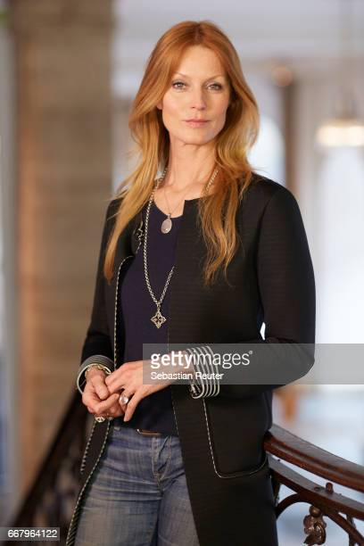 Actress Esther Schweins is seen on set during the shooting of the new documentary series 'Guardians of Heritage' by German TV channel HISTORY at...