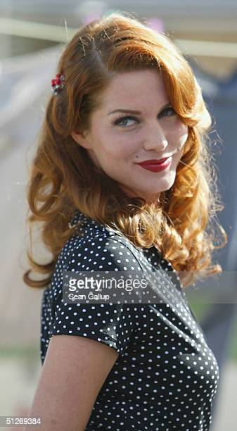 Actress Esther Schweins poses at a photocall on the set of the new German miniTV series Blond Eva Blond at the Babelsberg film studios on September 7...