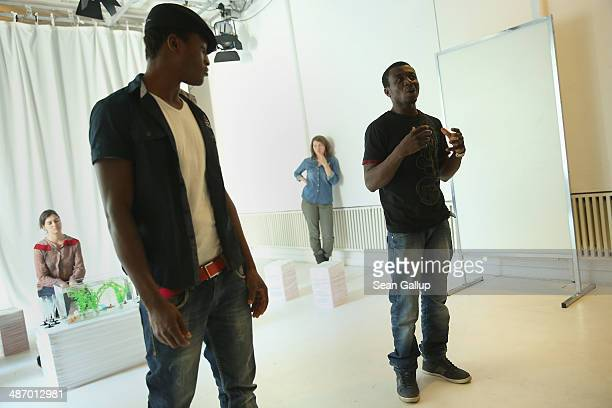 """Actress Esther Zimmering, actor """"Ona,"""" actress Lisa Conrad and actor Yousuf, cast members of """"GRENZFAeLLE"""", a play that stars African refugees and..."""