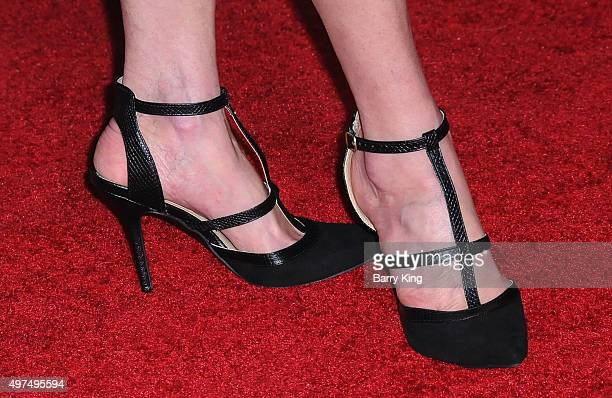 Actress Eugenie Bondurant shoe detail attends Premiere Of Lionsgate's 'The Hunger Games Mockingjay Part 2' at Microsoft Theater on November 16 2015...