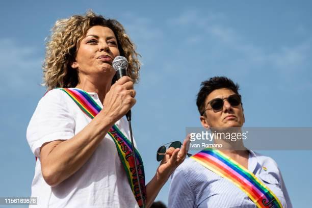 Actress Eva Grimaldi and wife Imma Battaglia activists of the LGBT movement during the Avellino Pride 2019 on June 15 2019 in Atripalda Italy...