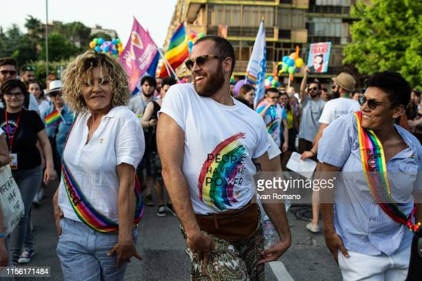 Actress Eva Grimaldi and wife Imma Battaglia activists of the LGBT movement during the Avellino Pride 2019 on June 15 2019 in Atripalda Italy...
