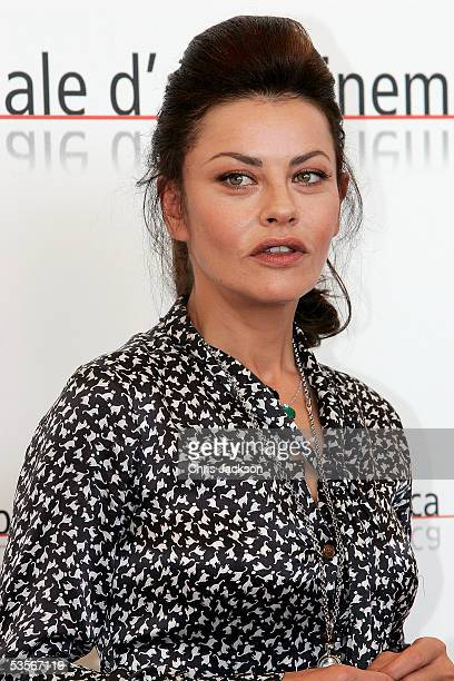 Actress Eva Grimaldi poses at the Photocall for out of competition film The Fine Art of Love Mine Ha Ha at the Palazzo del Casino on the first day of...