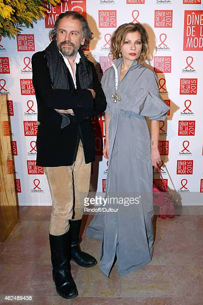 Actress Eva Ionesco and her Husband Writer Simon Liberati attend the Sidaction Gala Dinner 2015 at Pavillon d'Armenonville on January 29 2015 in...