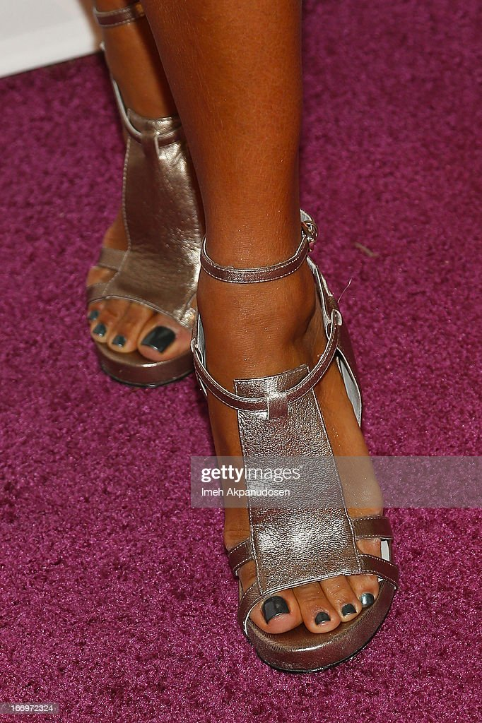Actress Eva La Rue (shoe detail) attends the 'Music Matters' 17th Annual Erasing The Stigma Awards Luncheon Presented By Didi Hirsch Mental Health Services at The Beverly Hilton Hotel on April 18, 2013 in Beverly Hills, California.