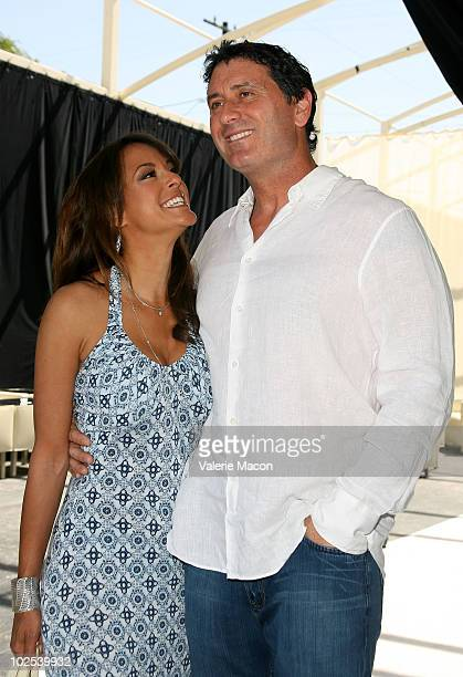 Actress Eva LaRue and Joe Cappuccio arrive at the Unveiled Bridal And Style Revealed Event on March 28 2010 in Los Angeles California