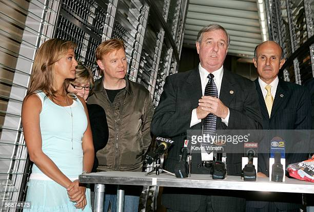Actress Eva LaRue Executive Producer Ann Donahue actor David Caruso Los Angeles District Attorney Steve Cooley and Los Angeles County Sheriff Lee...