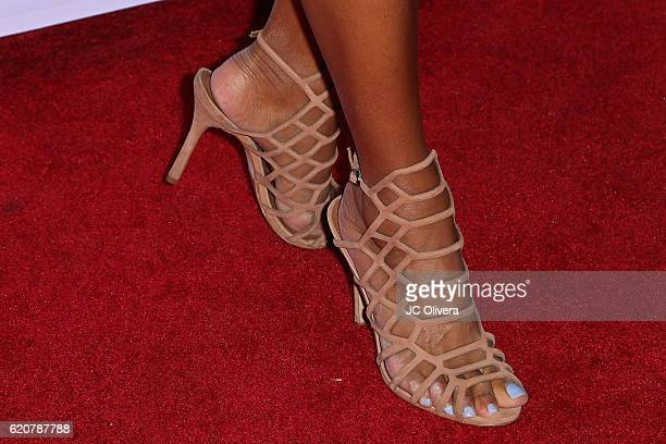 Actress Eva LaRue shoes detail attends Latina Magazine's 20th Anniversary Event Celebrating Hollywood Hot List Honorees at STK Los Angeles on...