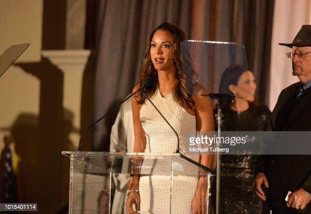 Actress Eva LaRue speaks at the Champion For Children Gala and Awards celebration at Sportsman's Lodge on August 11 2018 in Los Angeles California