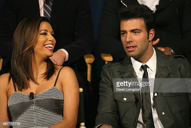 Actress Eva Longoria and actor Jencarlos Canela attend the NBC Comedy Press Junket for Telenovela and Superstore at Universal Studios Hollywood on...