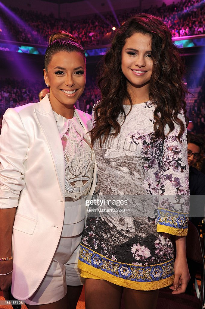 Actress Eva Longoria (L) and actress/singer Selena Gomez attends Nickelodeon's 27th Annual Kids' Choice Awards held at USC Galen Center on March 29, 2014 in Los Angeles, California.